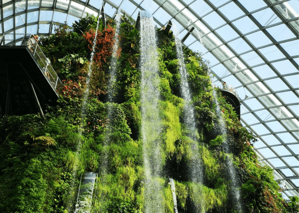 Cloud Forest indoor waterfall, Bay South Garden Singapore