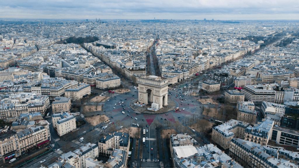 Birds eye view of Paris